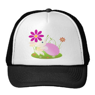 Little Yellow Baby Bunny With Flowers Mesh Hat