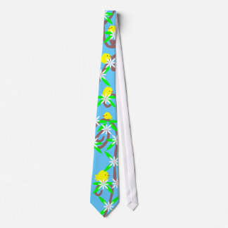 Little Yellow Birds Perched on a Blossoming Vine Neck Tie