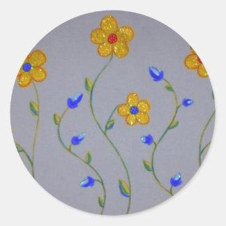 Little Yellow Blue Flowers Classic Round Sticker