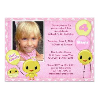 Little Yellow Chick Birthday Invitation pink