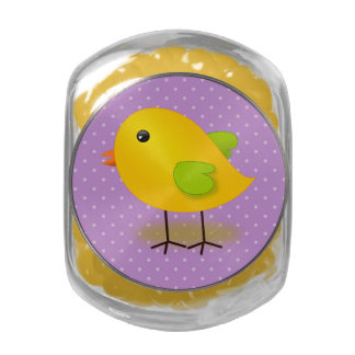Little yellow Chick Purple Polka Dots Jelly Belly Candy Jars