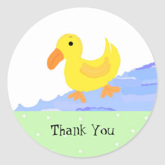 Little Yellow Duck Thank You Classic Round Sticker
