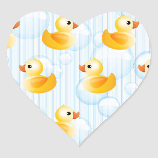 Little Yellow Ducks Heart Sticker