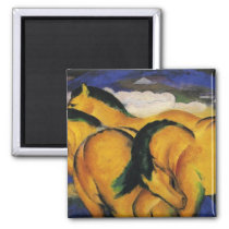 Little Yellow Horses 1912 by Franz Marc Magnet