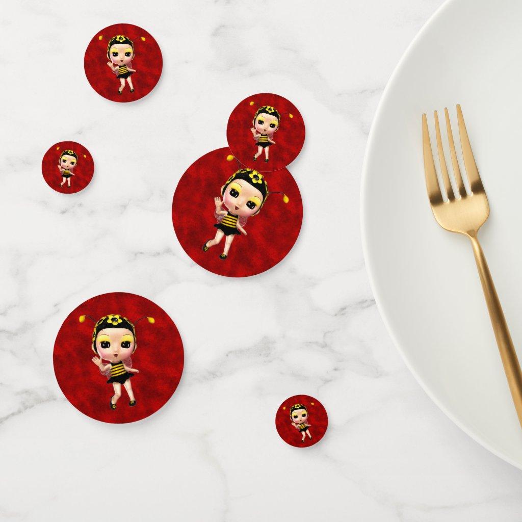 Little Yellow Ladybug on Red Velvet Confetti