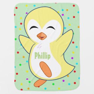 Little Yellow Penguin (add child's name) Baby Blanket