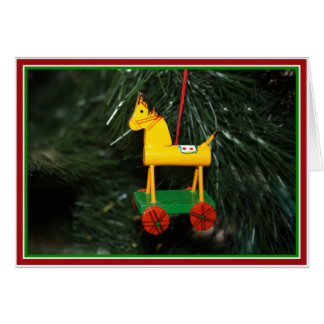 Little Yellow Pony  Christmas Ornament Card