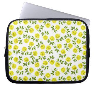 Little Yellow Tea Roses Electronics Bag Laptop Sleeve