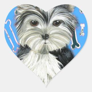 Little Yorkie Boy Blue Design Heart Sticker
