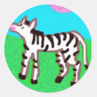 Little Zebra Classic Round Sticker