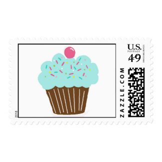 Littlebeane Blue Cupcake Postage Stamps