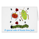 Littlebeane Bugs Insects  Ladybug Ant Caterpillar Stationery Note Card