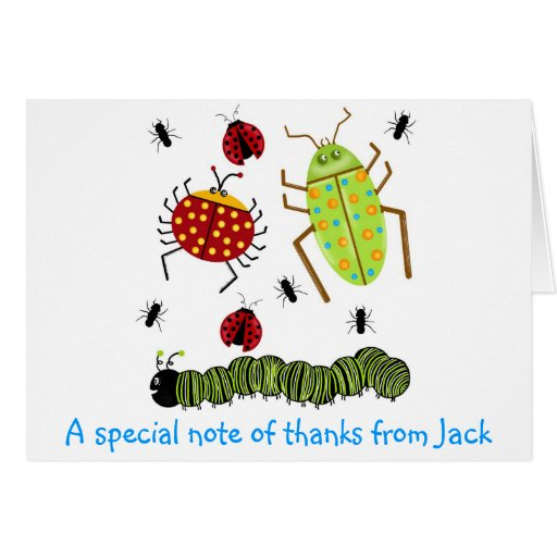 Littlebeane Bugs Insects  Ladybug Ant Caterpillar Greeting Card