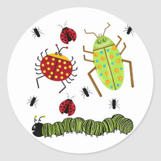 Littlebeane Bugs Insects  Ladybug Ant Caterpillar Round Stickers