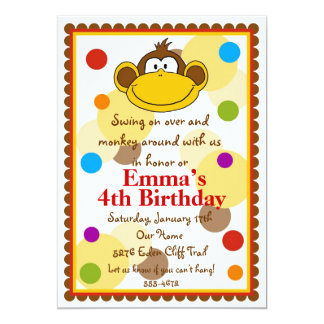Littlebeane Monkey Invitations