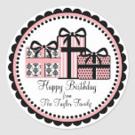 Littlebeane Pink and Black Birthday Gift Stickers