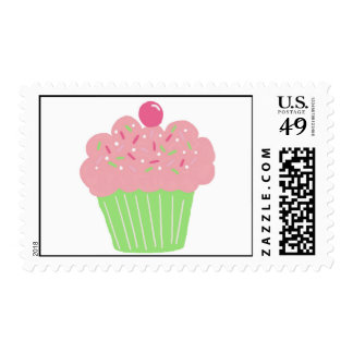 Littlebeane Pink and green Cupcake Postage Stamps