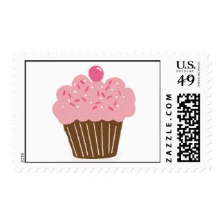 Littlebeane Pink Cupcake  Postage Stamps