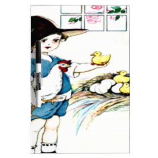 littlegirl.hatching.chicks,chickens.brownhat.png dry erase board