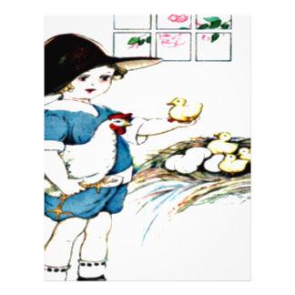 littlegirl.hatching.chicks,chickens.brownhat.png letterhead template