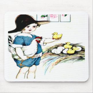 littlegirl.hatching.chicks,chickens.brownhat.png mousepad