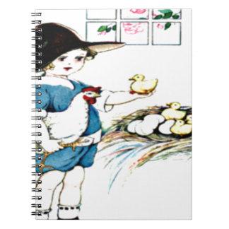 littlegirl.hatching.chicks,chickens.brownhat.png spiral notebook