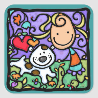 LittleGirlie and her puppy playing. SQ sticker