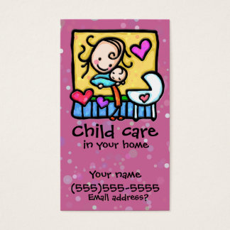 LIttleGirlie Babysitter Child Care Custom card PNK