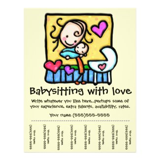 LittleGirlie Babysitting custom tear-sheet flyer