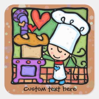 LittleGirlie Chef loves to bake bread Lt Rust Square Sticker