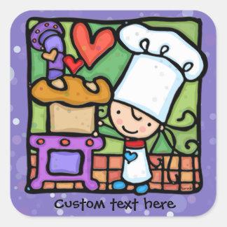 LittleGirlie Chef loves to bake bread PPL Square Sticker