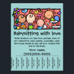 """LittleGirlie Child care custom tear-sheet flyer<br><div class=""""desc"""">Great way to start or promote your babysitting or daycare service. Charming, lovable, memorable. Perfect to hang up in local businesses, churches, synagogues, etc. Cut between the phone numbers so that people can easily tear off the contact info. A stack of these flyers makes a helpful gift for someone that...</div>"""