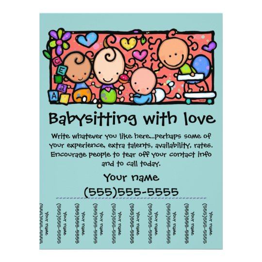 LittleGirlie Child care custom tear-sheet flyer Zazzle