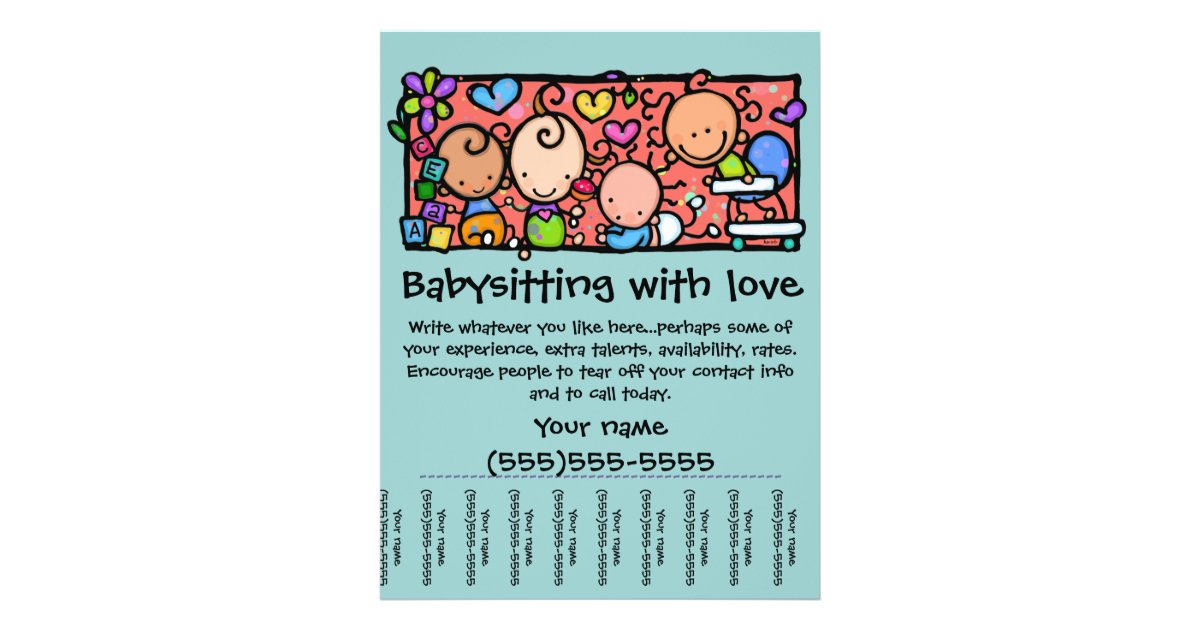 LittleGirlie Child care custom tear-sheet flyer | Zazzle