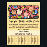 """LittleGirlie Child care custom tear-sheet_Gold Flyer<br><div class=""""desc"""">Great way to start or promote your babysitting or daycare service. Charming, lovable, memorable. Perfect to hang up in local businesses, churches, synagogues, etc. Cut between the phone numbers so that people can easily tear off the contact info. A stack of these flyers makes a helpful gift for someone that...</div>"""