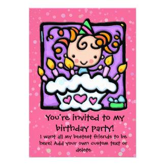 LittleGirlie cute birthday party invitations.PINK