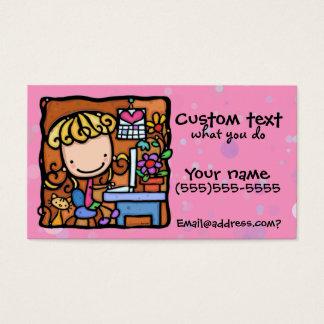 LittleGirlie designer writer bookkeeper cutie PNK Business Card
