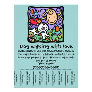 LittleGirlie Dog walk sitting tear-sheet flyer