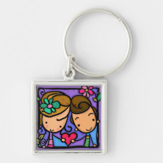 LittleGirlie First Love Silver-Colored Square Keychain