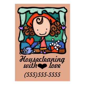 LittleGirlie housecleaning promotional card_peach Large Business Cards (Pack Of 100)