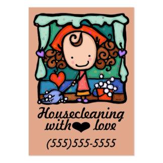 LittleGirlie housecleaning promotional card_peach Large Business Card