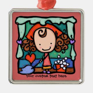 LittleGirlie is a little clean freak! ROSE Metal Ornament