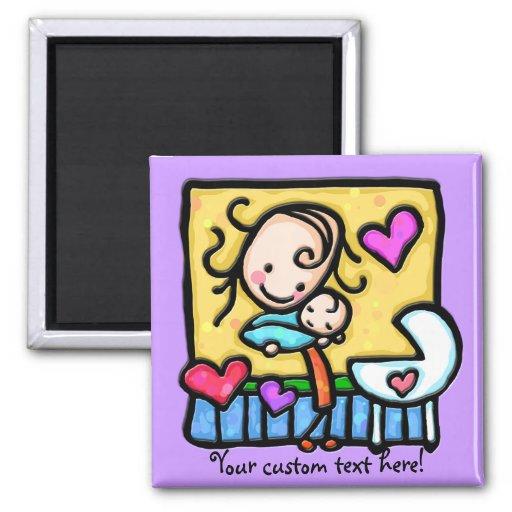 LittleGirlie loves her baby! 2 Inch Square Magnet