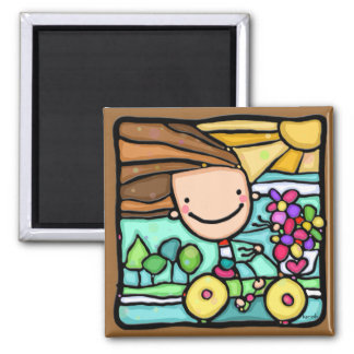LittleGirlie loves her bicycle! Square magnet