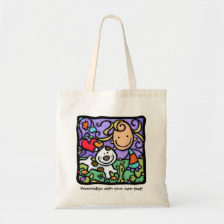 LittleGirlie loves her puppy. Personalized tote Budget Tote Bag