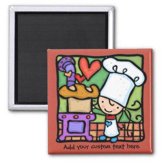 LittleGirlie loves to bake bread DK RUST 2 Inch Square Magnet