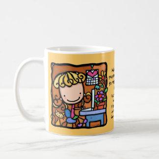 LittleGirlie loves to blog on laptop  WARM YELLOW Coffee Mug