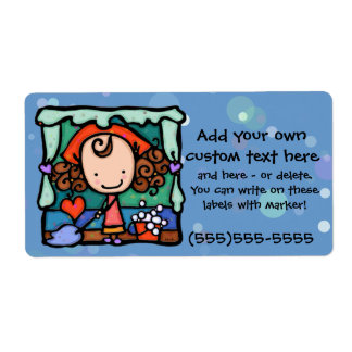 LittleGirlie loves to clean house! BLUE Shipping Label