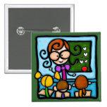 LittleGirlie plays teacher! Pinback Button