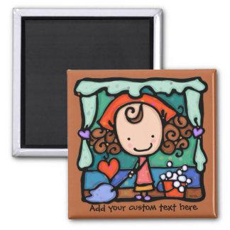 LittleGirlie promotes her cleaning business! BROWN Refrigerator Magnet